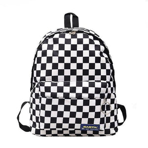 2021 Hot Sale Black and White Plaid Backpack Casual Nylon Outdoor Travel Backpack College Style Student School Bag