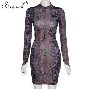 Simenual Snake Print Backless Fall 2021 Women Party Dresses Long Sleeve Fashion Skinny Bodycon Clubwear Sexy Hot Mini Dress Slim | akolzol