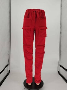 Women's Red Stacked Sweatpants High Waist Tracksuits Y2K Harajuku Joggers Streetwear Mall Goth Cargo Pants Walking Trousers | akolzol