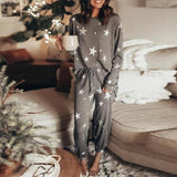 Women's Solid V-Neck Pajamas Set Star Print Long Sleeve Top + Drawstring Long Pants Home Clothes Female Spring Casual Pajamas | akolzol