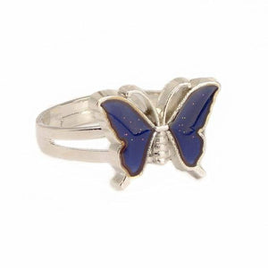 Vintage Butterfly Glitter Powder Adjustable Size Mood Ring Unique Temperature Control Color Animal Rings Fashion Female Jewelry