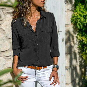 2021 Spring Summer Casual Blouse Women Top And Blouse Women Shirt Long Sleeve Button Pocket Black Solid Turn-down Collar Shirt