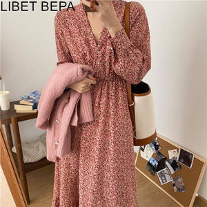 2021 New Women Spring Summer Dresses Fashionable Floral High Waist Vintage Korean Style Trumpet Lady Oversize Long Dress DR9165 |  | akolzol