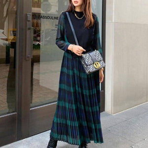 Korean Plaid Women Long Dresses Spring Autumn 2021 Pleated High Waist Daily Date Robe Femme Vestiods Maxi Dress Japan Fashion | akolzol