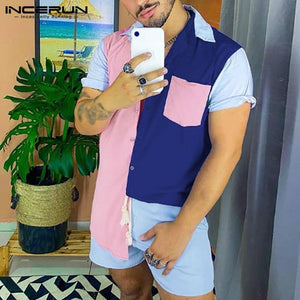 Summer Men Sets Patchwork Breathable Lapel Short Sleeve Shirt Beach Shorts Streetwear Casual Men Hawaiian Suit 2 Pieces INCERUN |  | akolzol