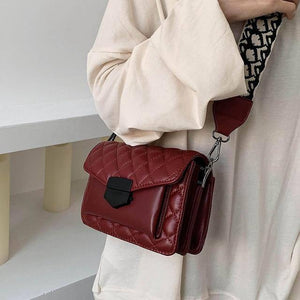 Bags for women 2021 new leather handbags women fashion wide shoulder strap messenger bag purse simple style Crossbody Bags | akolzol
