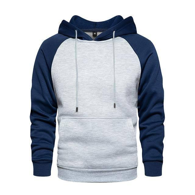 Men's Patchwork Hooded Sweatshirt Hoodies Clothing Casual Loose Fleece Warm Streetwear Male Fashion Autumn Winter Outwear | akolzol