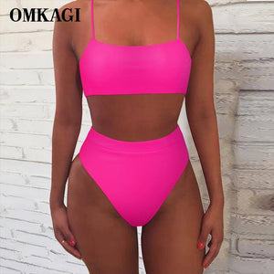 OMKAGI Women Swimsuit 2021 Solid Sexy Biquini Push Up Swimming Bathing Suit Bikini Set Maillot De Bain Femme Swimwear Women | akolzol