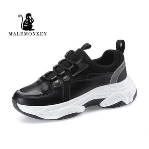 Fashion Sport Casual Sneakers Women 2021 Spring Autumn Leather Breathable Comfortable Sneaker Platform Shoes Women Black | akolzol