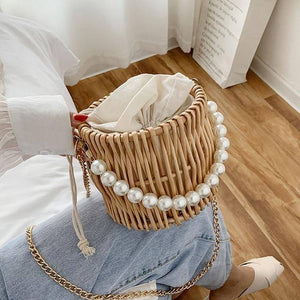 Beading Chain Summer Small Straw Shoulder Bags For Women Rattan Weave Travel Beach Bucket Bag Women's Fashion Crossbody Handbags |  | akolzol