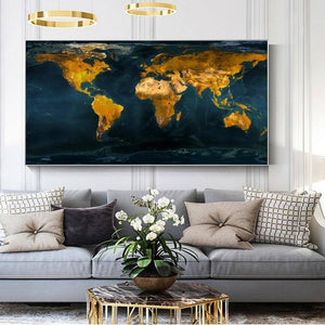RELIABLI ART A Map Of The World Retro Old Pictures Canvas Paintings For Living Room Prints Home Wall Decoration Posters No Frame | akolzol