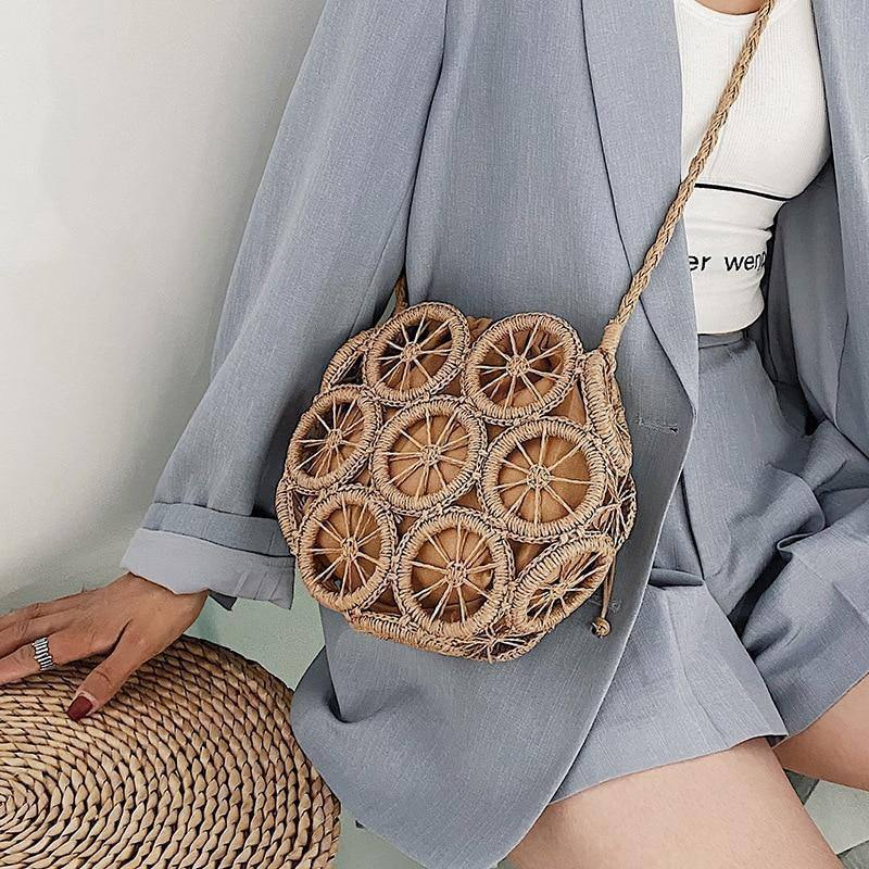 Summer Rattan Hollow Round Straw Bags 2021 Travel Beach Women's Handbags and Purses Wicker Woven Casual Shoulder Crossbody Bag |  | akolzol