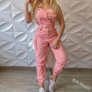 Jumpsuits Women Casual Cargo Playsuit Sleeveless O Neck Jumpsuit With Pocket and Belt Elegant Pencil Pants Loose Overalls