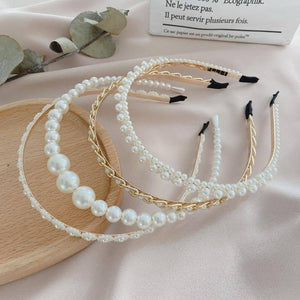 Xwen 2021 New Women Elegant Full Pearls Hairbands Sweet Headband Hair Bundle Lady Hair Hoops Fashion Accessories
