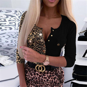 Sexy O Neck Long Sleeve Leopard Body Shirt Women 2020 Autumn Buttons Woman Tops Femme Blouse Woman Tshirts Plus Size 5XL