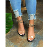 2021 Summer New Style Flat Sandals Fashion Solid Color Chain Open Toe Outdoor Women's Shoes Plus Size 43 | akolzol