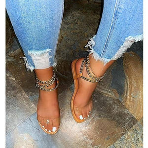 2021 Summer New Style Flat Sandals Fashion Solid Color Chain Open Toe Outdoor Women's Shoes Plus Size 43 |  | akolzol