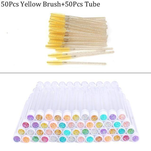 Reusable Eyebrow Brush Tube Disposable Eyelash Brush Eyebrow Brush Replaceable Dust-proof Sparkling Broken Diamond Makeup Brush | akolzol
