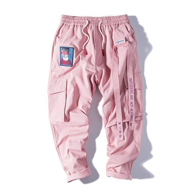 Aelfric Eden Streetwear Hip Hop Cargo Pants Men Women Ribbon Letter Embroidery Japanese Joggers Trousers Casual Harem Pants Pink |  | akolzol