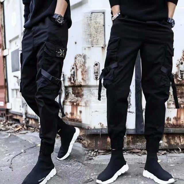 2021 Men Multi-pocket Elastic Waist Design Harem Pant Street Punk Hip Hop Red Casual Trousers Joggers Male Army Cargo Pants XXXL | akolzol