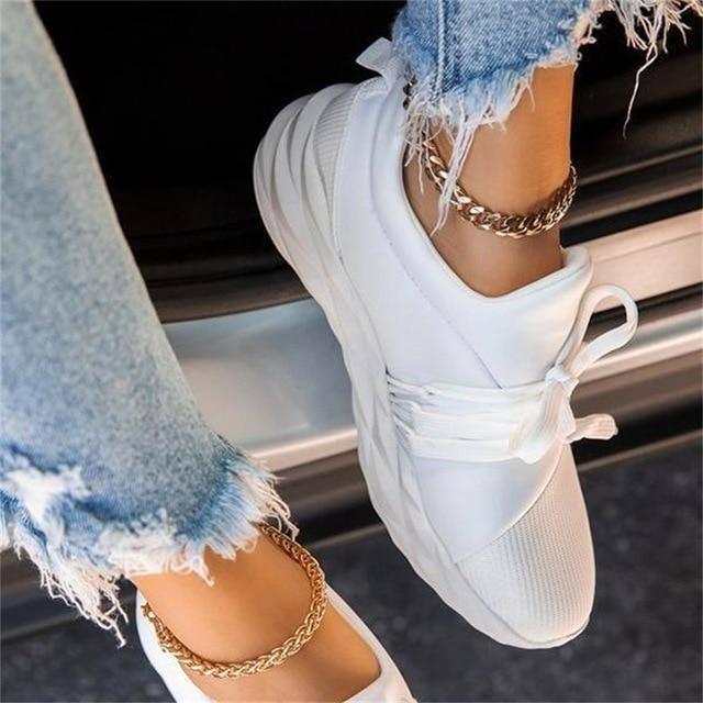 2020 Autumn Sneakers Women Casual Breathable Sport Shoes Lace Up Loafers Ladies White Sneakers Outdoor Walking Running Shoes New |  | akolzol