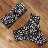 Leopard Bikini High Waist Swimsuit Women Bikini 2021 Push Up Bandeau Women Off Shoulder Beach Swimming Suit Brazilian Swimwear | akolzol