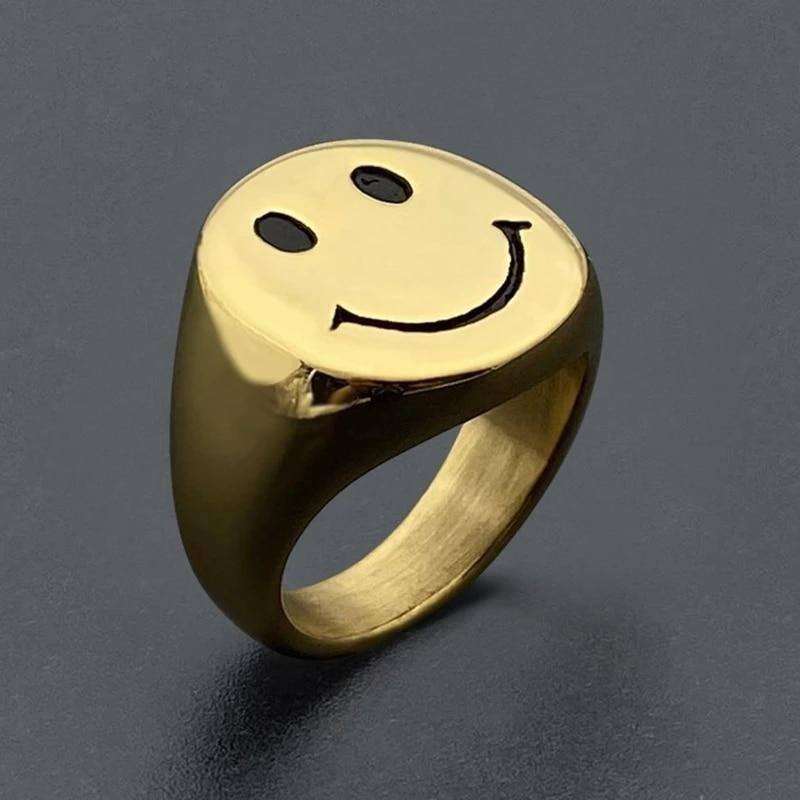 YPAY 2021 New Style Gold Color Stainless Steel Rings for Women Retro Antique Smiley Finger Ring Party Jewelry Gifts Fashion | akolzol