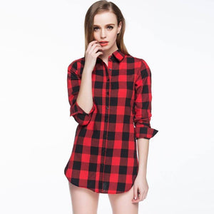 2021New plaid women blouse spring long sleeve lapel ladies shirt casual women red plaid print tops student blouse
