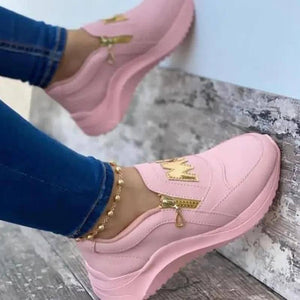 Women Sport Shoes Thick Bottom Solid Ladies Vulcanized Sneakers Casual Wedges Slip On Zipper Shoes Women Platform Sneakers | akolzol