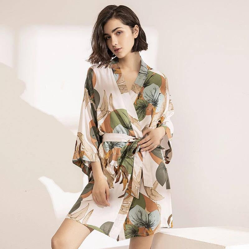 2021 Spring New Ladies Silk Satin Thin Robe Comfort Fresh Style Floral Printed Sleepwear Sexy Nightgown Femme Satin Homewear | akolzol