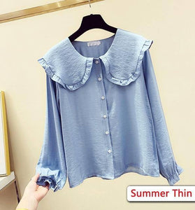 2020 Spring New Women's Fashion Peter Pan Collar Slim Shirt Long Sleeve Casual Style Cotton Blouse Female Tops T9D730O | akolzol