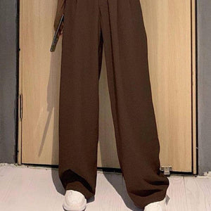 2021 Retro Solid Color Wild Straight Wide Leg Pants Female Spring New Korean Fashion High Waist Casual Long Pants | akolzol