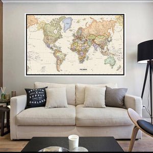 The World Map Retro Canvas Painting Vintage Poster Wall Sticker Card Photography Background Cloth Living Room Home Decoration | akolzol