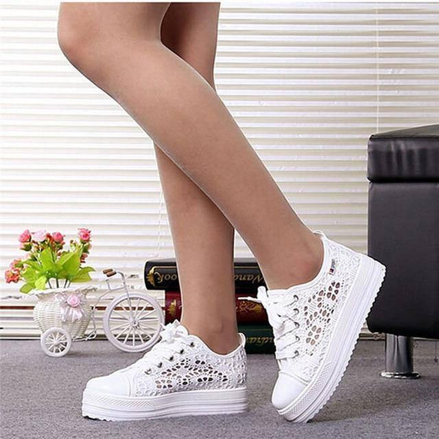 Women Shoes 2020 Fashion Summer Casual White Shoes Cutouts Lace Canvas Hollow Breathable Platform Flat Shoes Woman Sneakers | akolzol