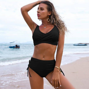Solid Sexy Bikini 2021 Summer Swimsuit Women 2 Pieces High Waist Bikini Push Up Swimwear Tankini Swimsuits Bathing Suit Women | akolzol