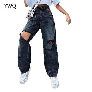 Ripped Women Jeans Wide Leg Long Pants Ladies Black Jeans Fashion Loose High Waist Vintage Denim Pants Hole Korean Women Trouser |  | akolzol