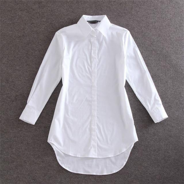 My NewIn 4XL 5XL Plus Size Women Blouse Shirt Long Sleeve White Solid Loose Long Version Casual Top | akolzol