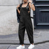 Women Fashion Sleeveless Bib Dungarees Celmia Solid Jumpsuits Pockets Work Overalls Plus Size Casual Harem Pant Long Playsuits | akolzol