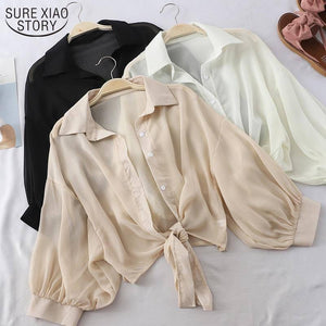 New 2021 Summer Half Sleeve Buttoned Up Shirt Loose Casual Blouse Chiffon Shirts Women Tied Waist Elegant Blouses for Women