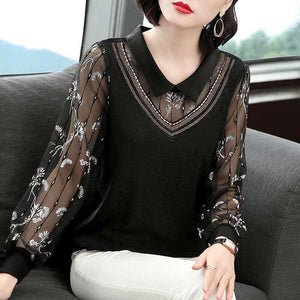 Women Spring Autumn Style Mesh Lace Blouses Shirts Lady Casual Long Sleeve Peter Pan Collar Patchwork Blusas Tops ZZ0656