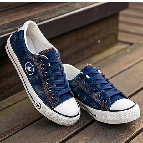 Fashion Women Sneakers Denim Casual Shoes Female Summer Canvas Shoes Trainers Lace Up Ladies Basket Femme Stars Tenis Feminino | akolzol