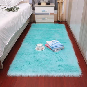 Plush Soft Sheepskin Bedroom Carpet Imitation Wool Pad Long Hair Bedside Mat Sofa Cushion White Rugs Red Living Room Fur Carpet | akolzol