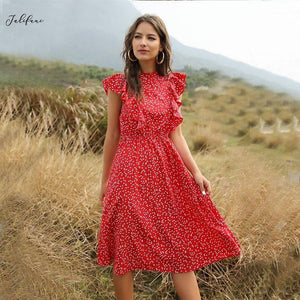 Butterfly Sleeve Dot Print Ruffles Women Summer Dress Lady Fashion A line Red Chiffon Dresses Fitted Clothes 2021 Elegant Vestid |  | akolzol