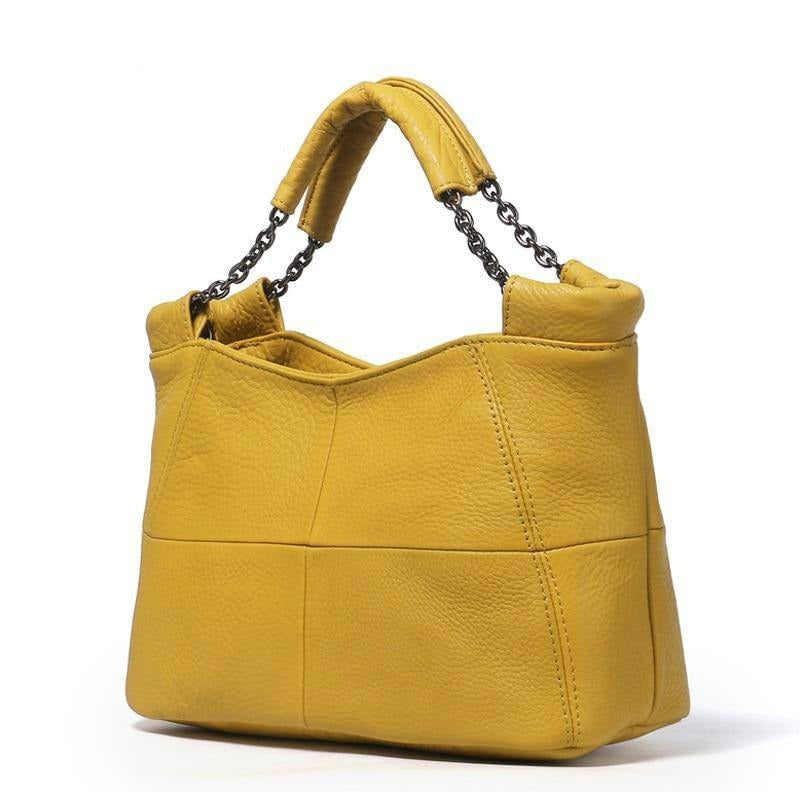 Gykaeo 2021 Summer European and American Style Fashion Handbag Lady Chain Soft Genuine Leather Tote Bags for Women Messenger Bag | akolzol
