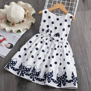 Kids Dresses for Girls 3-8 Years Summer Girl Dress Polka Dots Soft Cotton Children Clothing Bowknot Belt Girl Casual Wear |  | akolzol