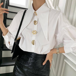 Korean Style 2021 Spring Summer Fashion Puff Sleeve Blouses Shirts Vintage Oversize Buttons Office Lady Elegant Tops