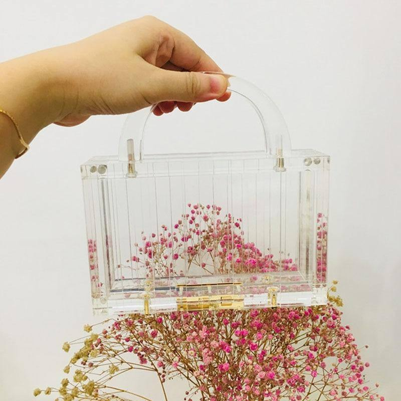 Women's Acrylic Transparent Bag Clear Handbags Small Top-handle Bags Female Prom Party Bag Magnetic Buckle Ladies Hand Bags | akolzol