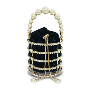 Rhinestone Pearl Evening Bag Women Luxury Handmade Diamond Beaded Bucket Purses and Handbags Ladies Bridal Wedding Party Bags | akolzol
