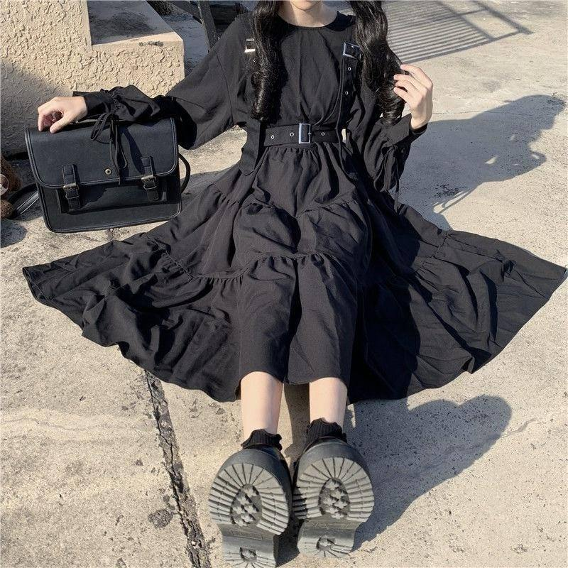 QWEEK Gothic Style Dress Women Harajuku Gothic Lolita Kawaii Dress Punk Cute Long Sleeve Black Midi Dress 2021 Emo Mall Goth | akolzol