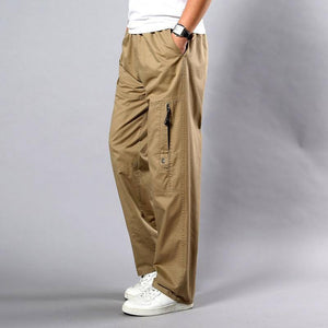 Summer Men's Khaki Pants Large Size Straight Fit Big Sizes 5XL Side Pockets Wide Leg Cotton Black Cargo Pants Work Trousers Male